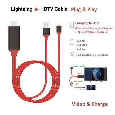 Hot New 8 Pin Lightning to HDMI TV AV Adapter 2m Cable for iPad iPhone 8 8Plus X