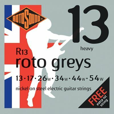 2 Sets Rotosound R13 Roto Greys Electric Guitar Strings 13-54 w/Free 1st String