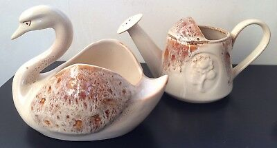 Matching Vtg Fosters Pottery Swan Planter Watering Can Light Honeycomb C20th