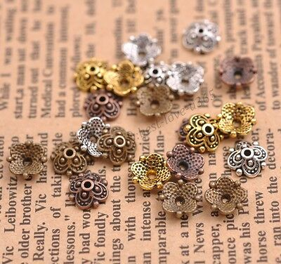 100Pcs Tibetan Silver Spacer beads Flowers Beads Caps Findings 8MM B3113