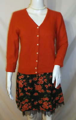 CRYSTAL KOBE Red Fluffy 70% ANGORA Cardigan Pearl Buttons SZ S M