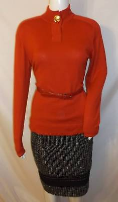 CHANEL BOUTIQUE Vtg Red Soft Knit Sweater Gold Signed CC Button SZ 38 S
