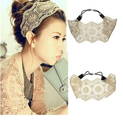 Women Girls Lace Headband Retro Hair Band Wide Head wraps Hair Accessories ​