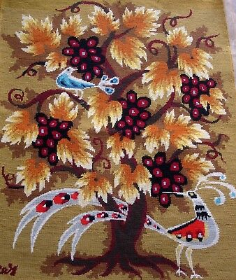 Vintage Completed Cross Stitch Very Large Tapestry Unframed Picture Tree & Birds