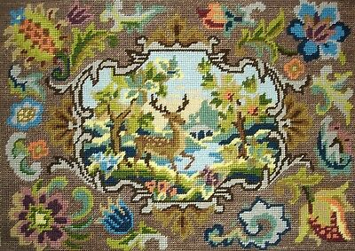 Vintage Completed Cross Stitch Tapestry Unframed Picture Stag With Floral Border