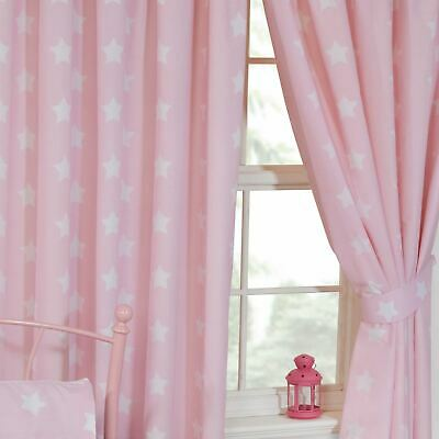PINK AND WHITE STARS LINED CURTAINS KIDS BEDROOM 66in x 54in (168cm x 137cm)