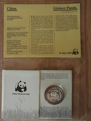 Silber Münze Coin Silver China 5 Yuan 1986 PP/Proof 25 Jahre WWF NEU & OVP NEW