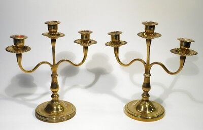 Pair of Early 20th Century Antique Brass Table Two Branch Candelabra.