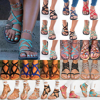 Fashion Women's Gladiator Sandals Summer Beach Casual Flip Flops Flat Shoes Size