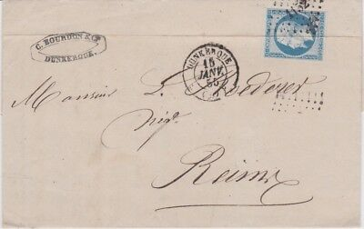 France-1855 NIII 20 c blue imperf Dunkirk small numeral duplex cover to Reims