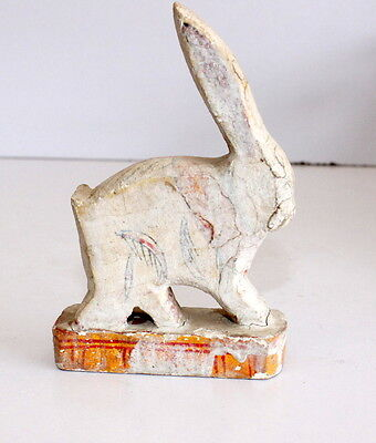 Vintage Old Wooden Hand Carved Painted Beautiful Small Rabbit Figurine