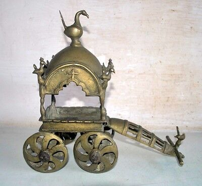 Old Antique India Brass Hand Carved Hindu God Rare Chariot Horse Cart Baggi 19th