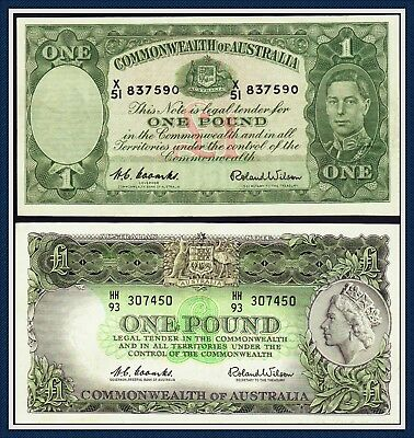 Pre-Decimal 1952/61 One Pound Banknotes Coombs/Wilson R-32/34 gVF-aEF