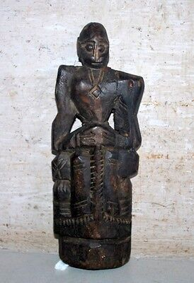 Rare Vintage Old Original Wooden Hand Carved Hindu God Statue Decorative Putali