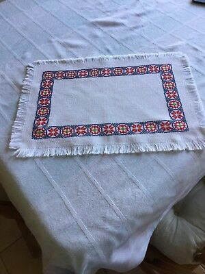 Completed Cross Stitch Table runner/ Tray Cloth Etc
