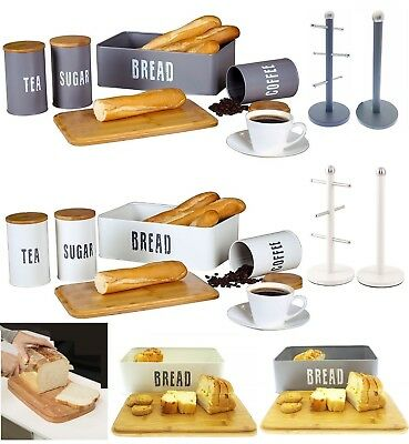 Retro Tea Coffee Sugar Storage Canisters Bread Bin Kitchen Towel Holder Mug Tree