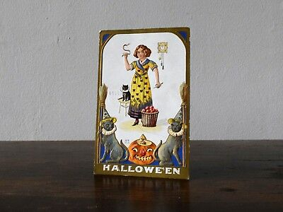 Vintage Halloween Embossed Nash Postcard Witch Cat Apple JOL