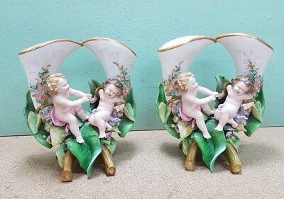 Pair of Early Victorian Double Stem Cherub China Vases