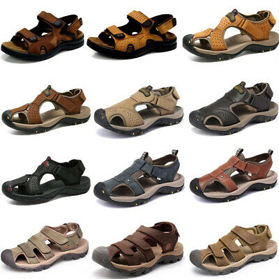 Summer Men's Leather Sandals Fisherman Sports Climbing Hiking Casual Soft Shoes