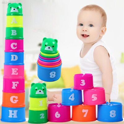 4E89 Stacking Cups Sets Baby Early Education Toys Cute Lovely Portable Kits