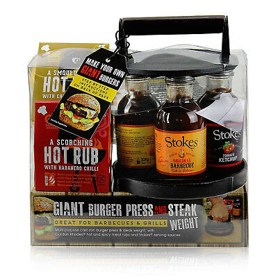 Gordon Rhodes Giant Burger Press & Steak Weight With Hot Rubs and Serving Sauces