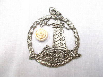 DETAILED BY THE SEA LIGHTHOUSE w REAL SHELL DANGLE PEWTER SUNCATCHER ORNAMENT