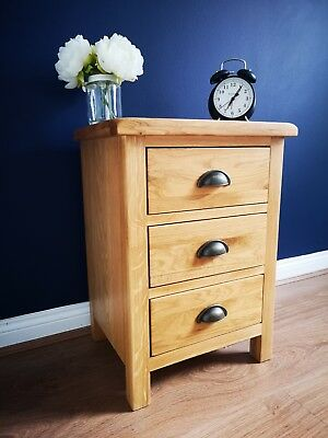 Dolcea Original Oak Bedside Table Cabinet  3 Drawers Solid Wood Bedroom Storage