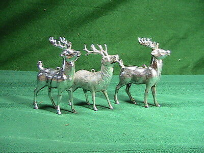 VINTAGE PLASTIC CHRISTMAS ORNAMENTS DEER FIGURE lot of three silver color