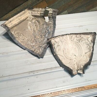 "2pc mix match corners 10"" 14"" Antique Ceiling Tin Vintage Reclaimed Salvage Art"