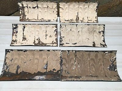 "6pc Lot of 12""- by 6"" Antique Ceiling Tin Vintage Reclaimed Salvage Art Craft"