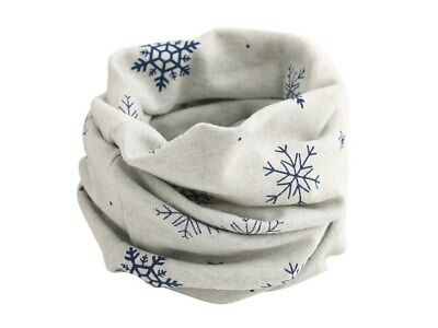Stretch Fabric Infinity Scarf - Grey with Blue Snowflakes