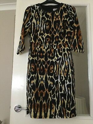 MS Limited Edition Dress 10 Strong Animal Print Edged In Faux Leather