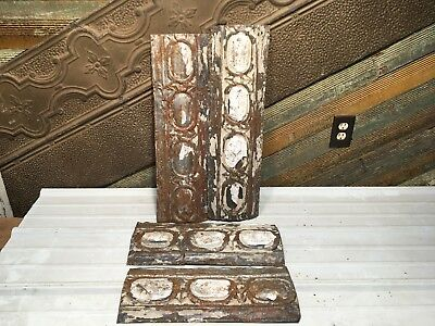 "4pc Lot of 18"" by 7"" Antique Ceiling Tin Vintage Reclaimed Salvage Art Craft"
