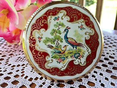 Vtg Stratton Made In England Red Pheasant Scene Compact