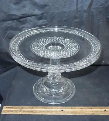 Lovely Old Round Glass Cake Pedestal Plate Stand Pattern Glass !