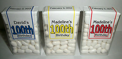 28 ~ 100th BIRTHDAY PARTY FAVORS TIC TAC LABELS ~ PERSONALIZED