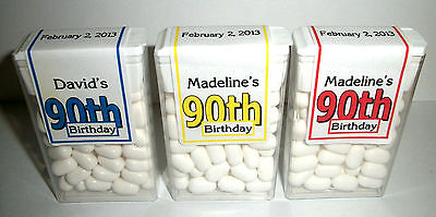 28 90th BIRTHDAY PARTY FAVORS TIC TAC LABELS PERSONALIZED