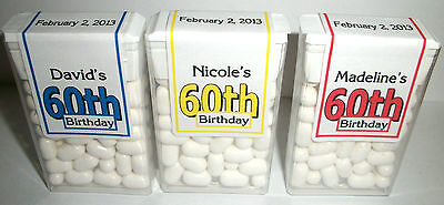 28 60th BIRTHDAY PARTY FAVORS TIC TAC LABELS PERSONALIZED