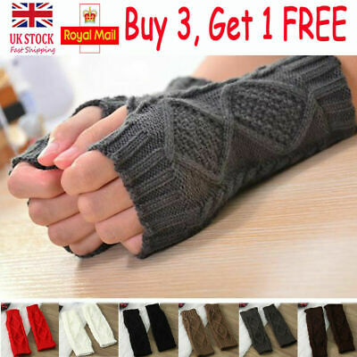 Womens Winter Warm Gloves Fingerless Ladies Stretchy Arm Warmer Knitted Mittens