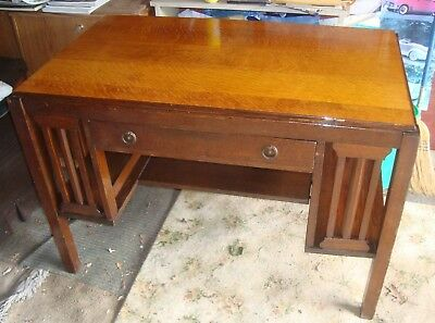Antique Mission Style Desk Mission Oak Arts & Crafts Tiger Oak 1 drawer