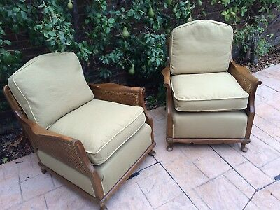 Bergere Upholstered Pair of Chairs, Lovely Condition