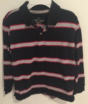 67704a419 Faded Glory Boy Long Sleeve Striped Polo Shirt Black Gray Red Size Medium  (8)