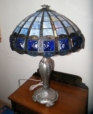 Antique 1900's Miller Lamp Co. Art Nouveau Stained Chunky Glass Table Lamp Exc.