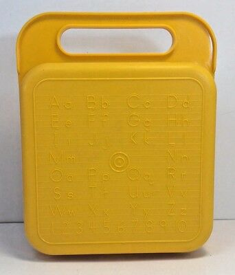 Vintage Tupperware Yellow Lunch Box With ABC & Number Stencil Storage Case