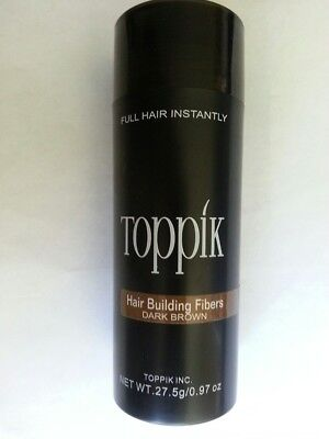 TOPPIK Hair Building Fibers LARGE 27.5 gram Dark Brown Fast Shipping