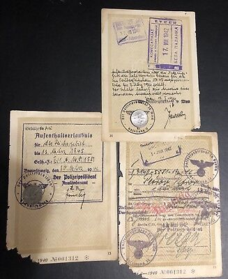 WWII German Third Reich Italian diplomat Papers Stamped - Police President.