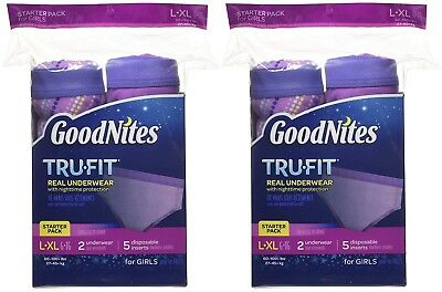2 Pack - Goodnites - TruFit -Real Underwear for Girls - Starter Pack Size L/XL