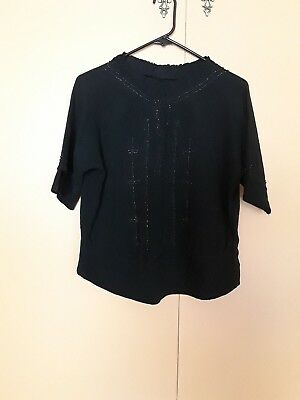 Vtg 20s Beaded Rayon Crepe Blouse Top Flapper Gatsby