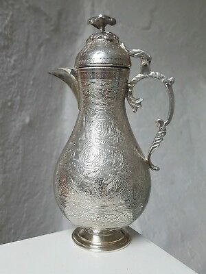 Antique c1900 Islamic Persian Middle Eastern Solid Silver Coffee Pot Calligraphy
