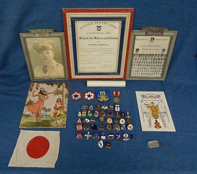 WWII Named Military Lot Traded Regiment Crest Badges (36),Medals,Patches,Photos